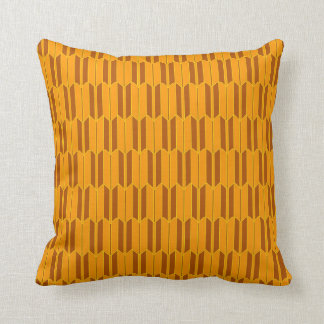 Brown Beige Yellow Geometric Pattern Throw Pillow