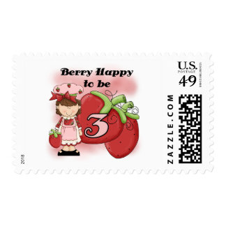 Brown Berry 3rd Birthday T-shirts and Gifts Postage Stamp