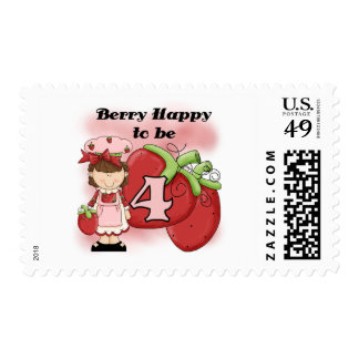 Brown Berry 4th Birthday T-shirts and Gifts Postage Stamps