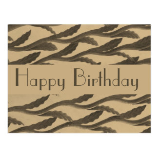 brown biege branches Happy Birthday Postcard