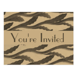 brown biege branches party invitation postcard