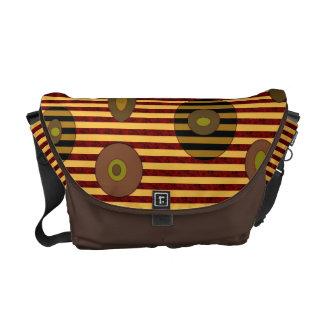 Brown biege circles stripes messenger bag