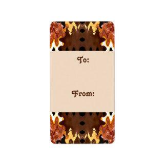 brown biege Gift tags Address Label