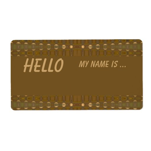 Brown biege name badge personalized shipping label