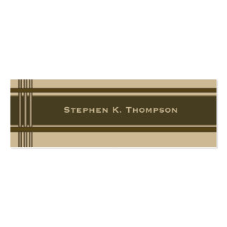 Brown Biege Professional Stripes Block Double-Sided Mini Business Cards (Pack Of 20)