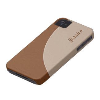 Brown Biege Simple Circle iPhone 4 Case-Mate Case