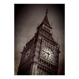 Brown Big Ben Art Photography Poster