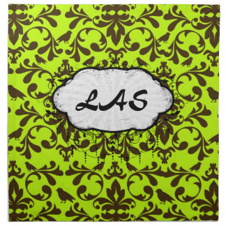 brown bird and lime green damask pattern cloth napkin
