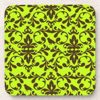 brown bird and lime green damask pattern coaster