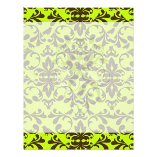 brown bird and lime green damask pattern flyer