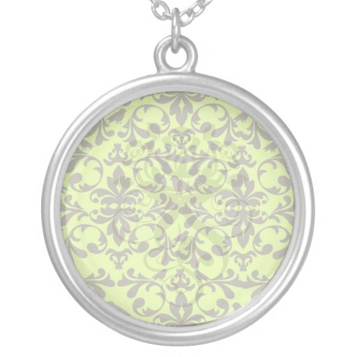 brown bird and lime green damask pattern round pendant necklace