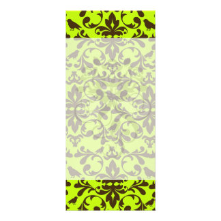 brown bird and lime green damask pattern customized rack card
