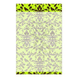 brown bird and lime green damask pattern stationery paper