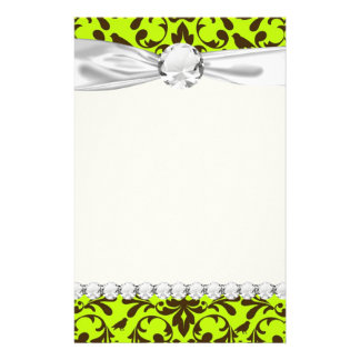 brown bird and lime green damask pattern personalized stationery