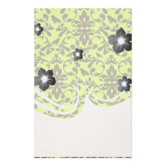brown bird and lime green damask pattern stationery design