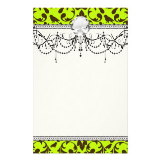 brown bird and lime green damask pattern stationery