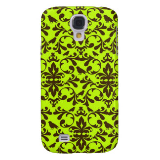 brown bird and lime green damask pern samsung s4 case