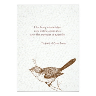 Brown Bird Bereavement Thank You Notes Card