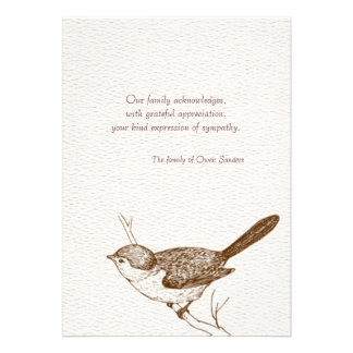 Brown Bird Bereavement Thank You Notes Invites