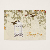 brown bird cage,  birds wedding reception card