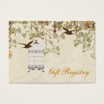 brown bird cage, love birds Gift registry  Cards