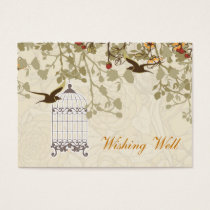 brown bird cage, love birds wishing well cards