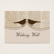 brown bird cage, love birds wishing well cards