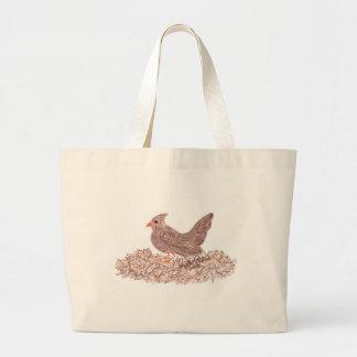 Brown Bird Large Tote Bag
