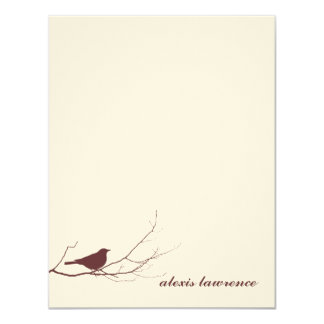 Brown bird on branch ecru thank you note card