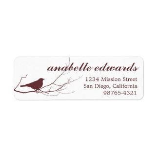 Brown bird on branch modern custom return address label