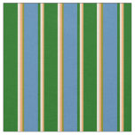 [ Thumbnail: Brown, Bisque, Dark Green, Blue & Green Pattern Fabric ]