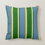 [ Thumbnail: Brown, Bisque, Dark Green, Blue & Green Pattern Throw Pillow ]
