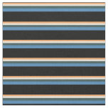 [ Thumbnail: Brown, Bisque, Dark Slate Gray, Blue & Black Fabric ]