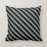 [ Thumbnail: Brown, Bisque, Dark Slate Gray, Blue & Black Throw Pillow ]