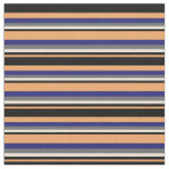 [ Thumbnail: Brown, Black, Bisque, Dim Gray & Midnight Blue Fabric ]