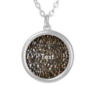 Brown Black Cheetah Abstract Round Pendant Necklace