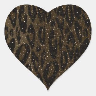 Brown Black Cheetah Stars Heart Sticker