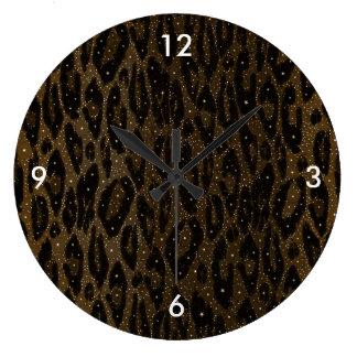 Brown Black Cheetah Stars Large Clock
