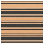 [ Thumbnail: Brown & Black Colored Lines/Stripes Pattern Fabric ]