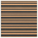 [ Thumbnail: Brown & Black Colored Stripes/Lines Pattern Fabric ]