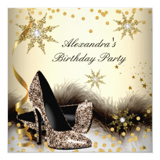 Brown Black Cream High Heels Birthday Party 5.25x5.25 Square Paper Invitation Card