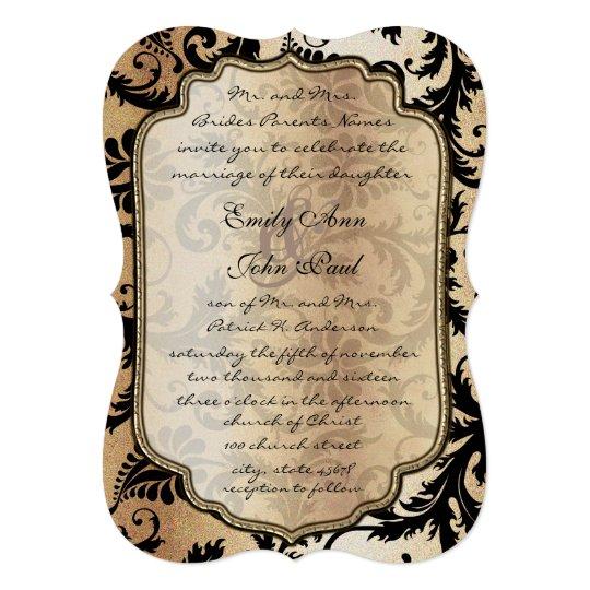 Brown Black Damask Ice Metallic Wedding Invitation