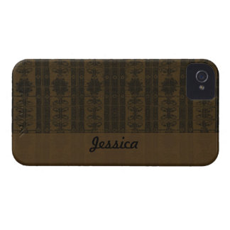 Brown Black Damask pattern iPhone 4 Cover