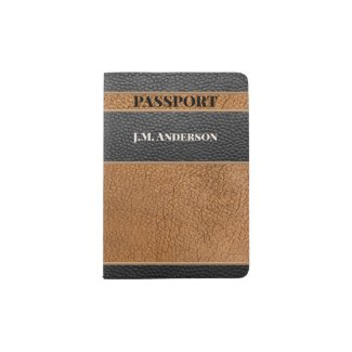 Brown Black Faux Leather Passport Holder