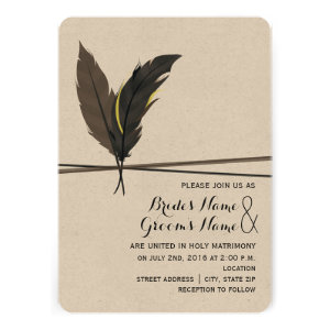 Brown + Black Feather Wedding Invitation