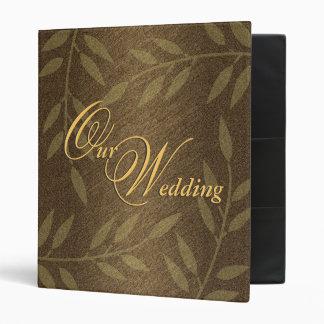 Brown black floral wedding vinyl binder