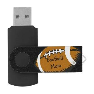 Brown Black Football Mom Sports USB Flash Drive
