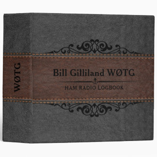 Brown & Black Leather Black Accents 3 Ring Binder
