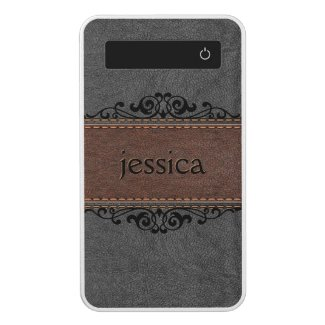 Brown & Black Leather Black Floral Accents Power Bank