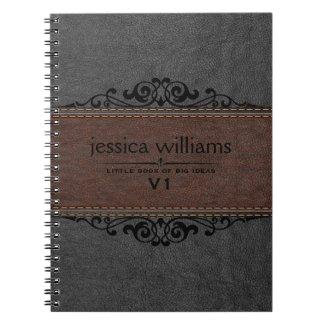 Brown & Black Leather Black Floral Element Spiral Notebook